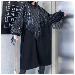 🎀 The LEONNAKA Leather Fringe Oversize Top